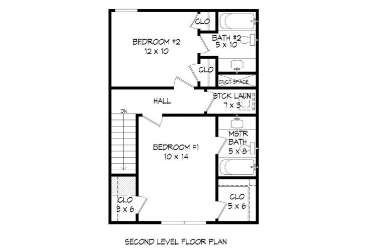 Classic House Plan - Butler's Gin 72631 - 2nd Floor Plan