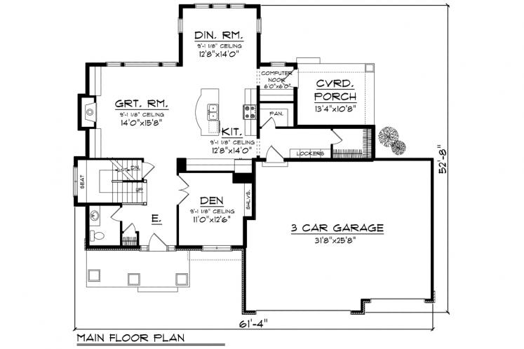 Modern House Plan -  72865 - 1st Floor Plan