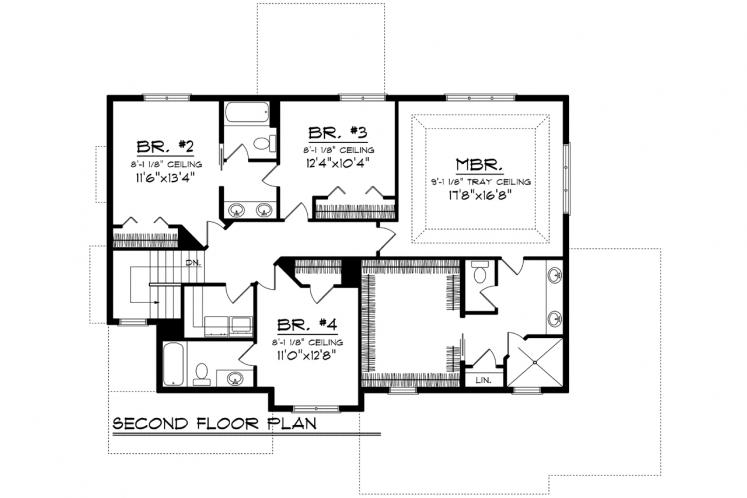 Prairie House Plan -  72865 - 2nd Floor Plan
