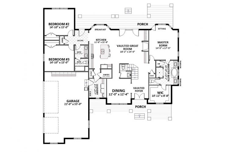 Craftsman House Plan - Ridgecrest 72963 - 1st Floor Plan