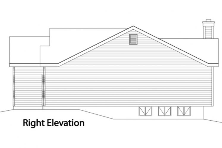 Traditional House Plan -  73033 - Right Exterior