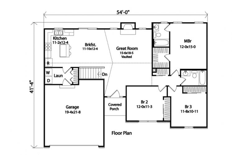 Ranch House Plan -  73033 - 1st Floor Plan