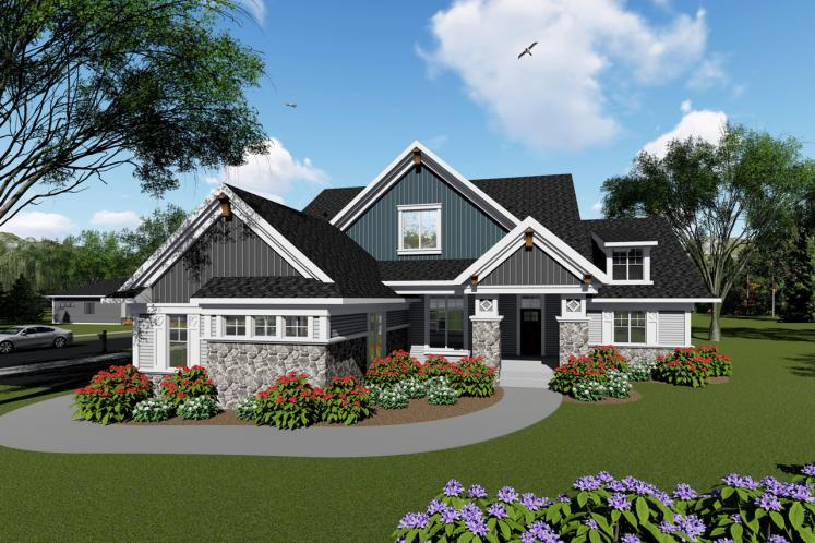 Craftsman House Plan -  73044 - Front Exterior