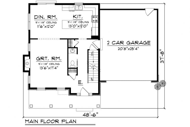 Traditional House Plan -  73074 - 1st Floor Plan