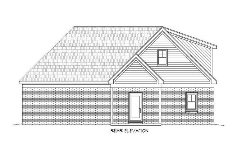 Traditional House Plan - Brunswick Mill 73166 - Rear Exterior
