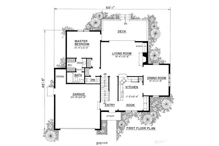 Traditional House Plan -  73442 - 1st Floor Plan