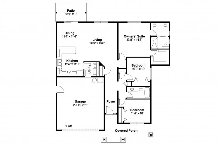 Contemporary House Plan - Ravenden 73444 - 1st Floor Plan