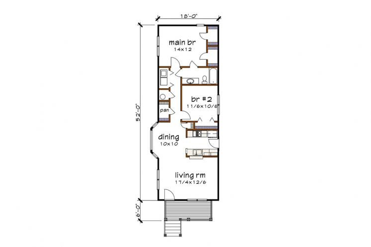 Cottage House Plan -  73518 - 1st Floor Plan