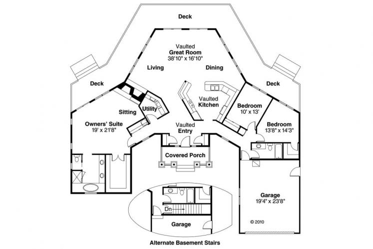 Craftsman House Plan - Vista 73751 - 1st Floor Plan
