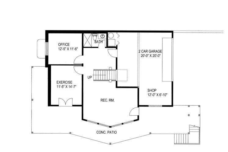 Country House Plan -  73898 - Basement Floor Plan
