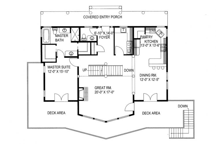 Lodge Style House Plan -  73898 - 1st Floor Plan