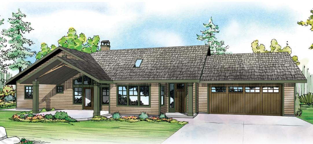 Ranch House Plan - Elk Lake 73958 - Front Exterior