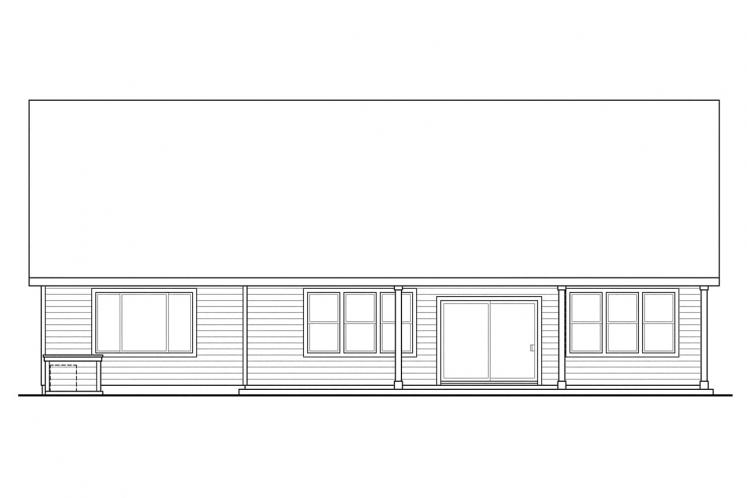 Bungalow House Plan - Sutherlin 74098 - Rear Exterior