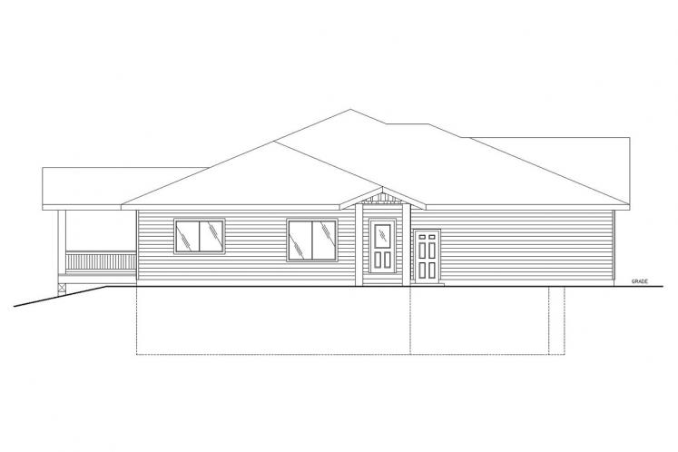 Traditional House Plan -  74103 - Left Exterior