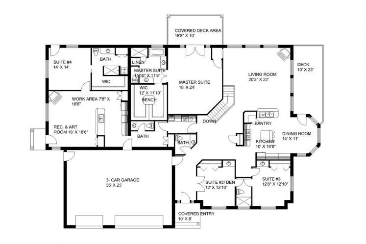 Traditional House Plan -  74103 - 1st Floor Plan