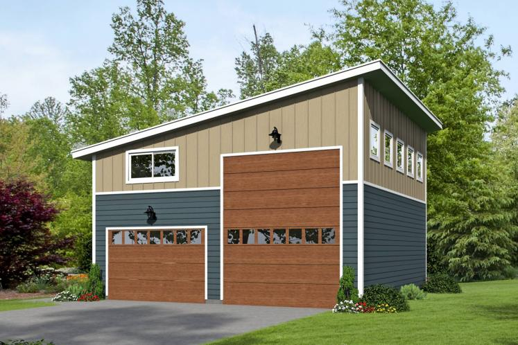 Contemporary Garage Plan -  74227 - Front Exterior
