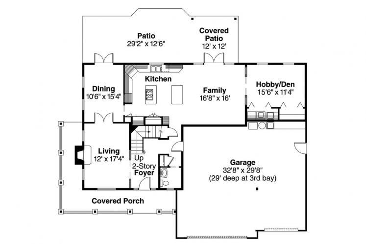 Craftsman House Plan - Craigmont 74243 - 1st Floor Plan