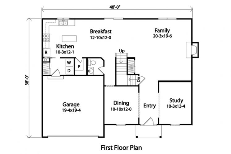 Traditional House Plan -  74272 - 1st Floor Plan