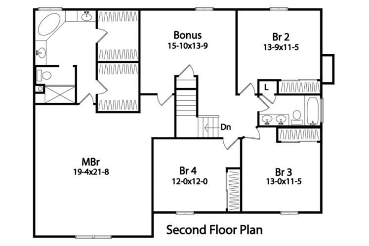 Country House Plan -  74272 - 2nd Floor Plan