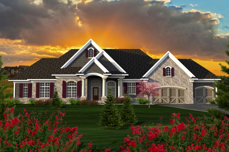 Ranch House Plan -  74417 - Front Exterior