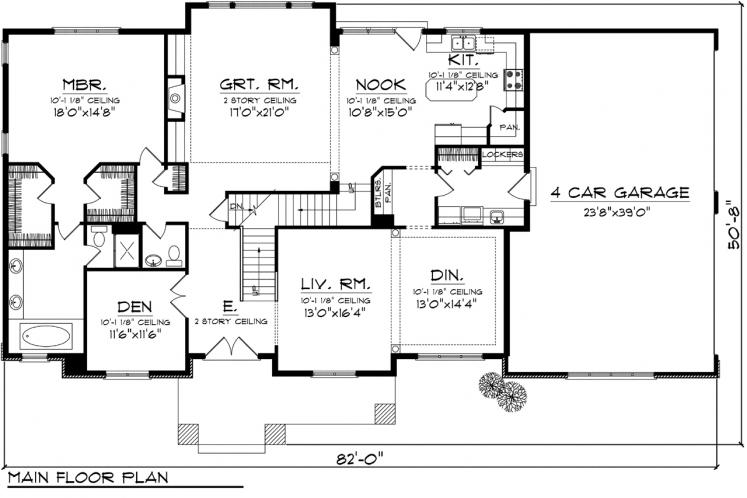 Traditional House Plan -  74443 - 1st Floor Plan