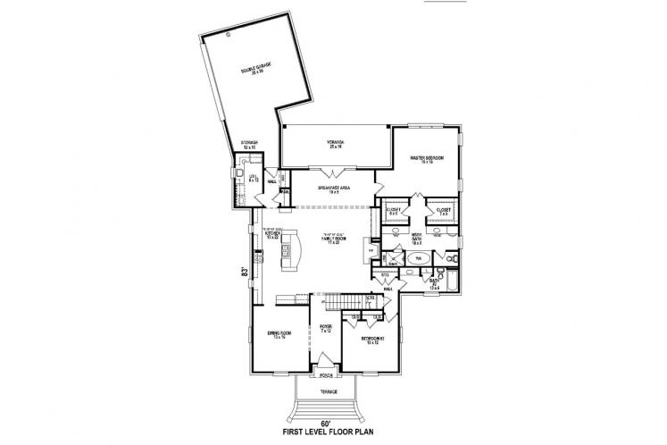 Southern House Plan -  74598 - 1st Floor Plan