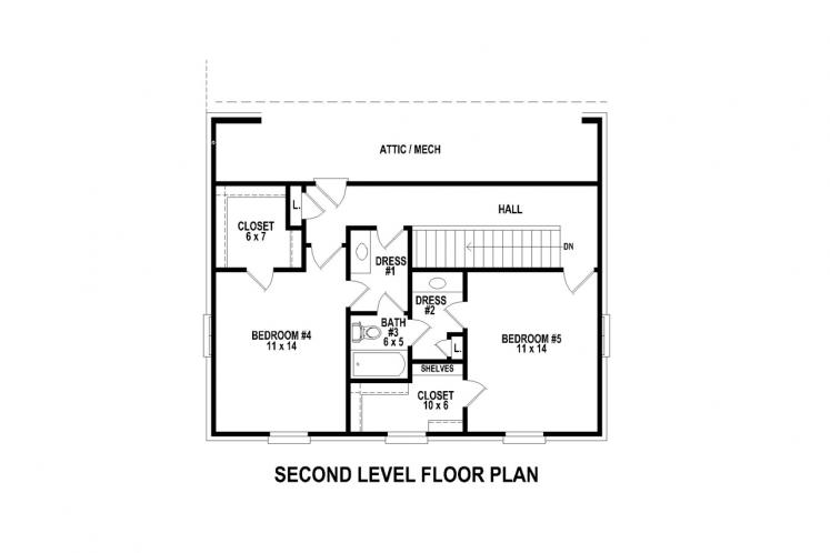 Traditional House Plan -  74598 - 2nd Floor Plan