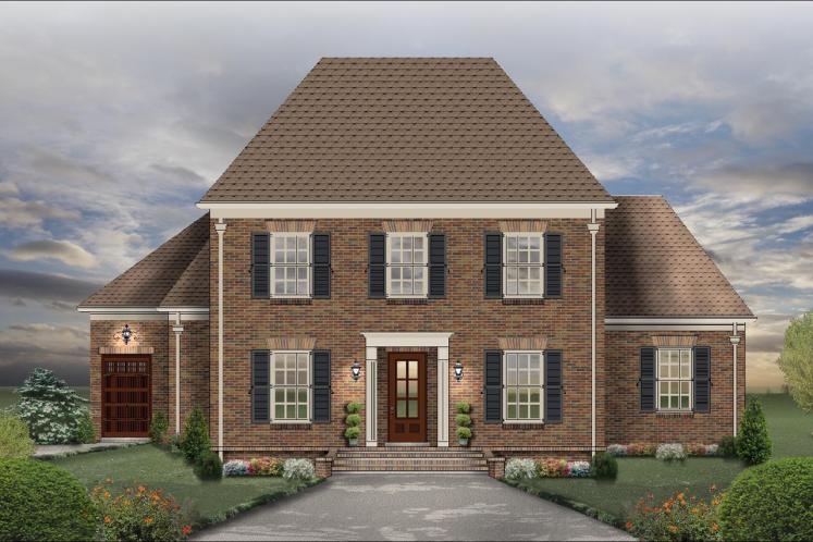 Colonial House Plan -  74598 - Front Exterior