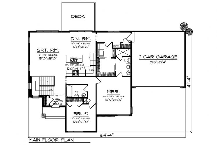 Ranch House Plan -  74840 - 1st Floor Plan