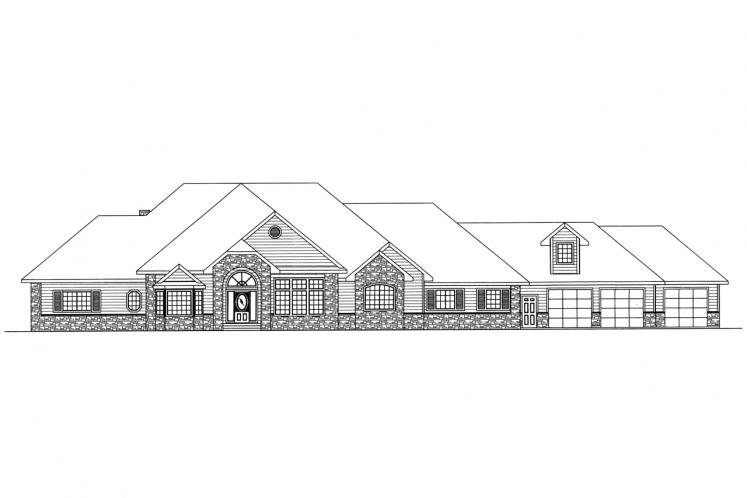 Ranch House Plan -  74864 - Front Exterior