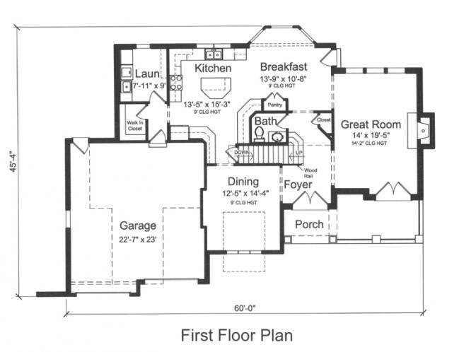 Traditional House Plan - The Chapel Hill II 74866 - 1st Floor Plan