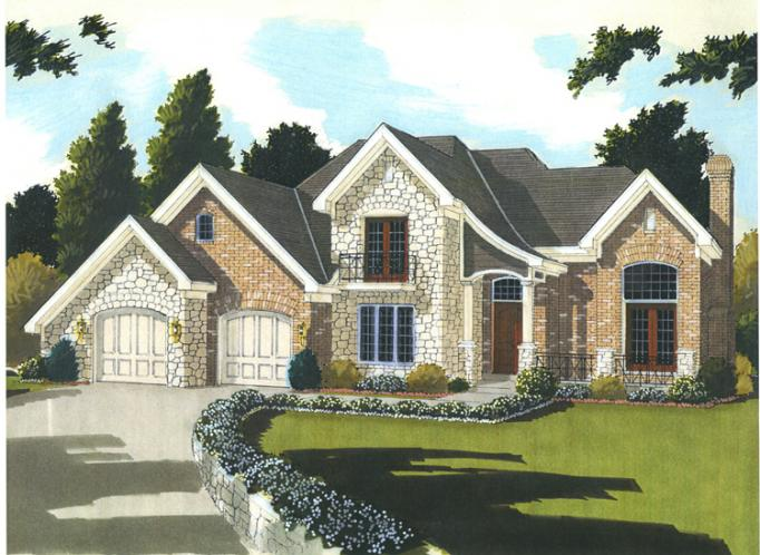 European House Plan - The Chapel Hill II 74866 - Front Exterior