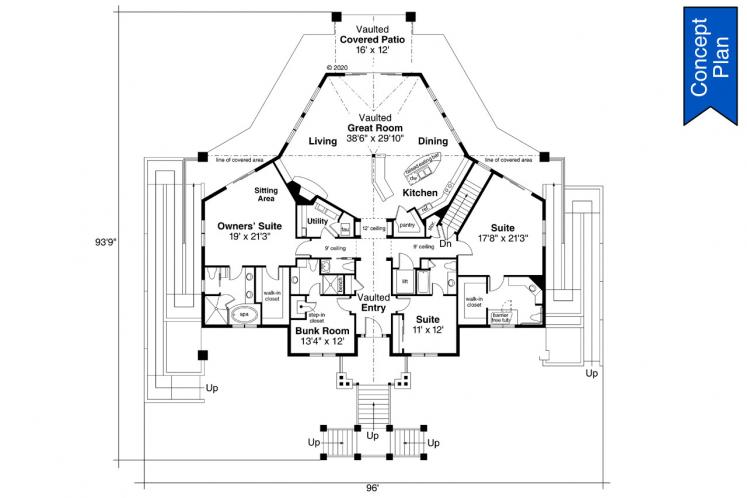 Contemporary House Plan - Willakenzie 74882 - 1st Floor Plan