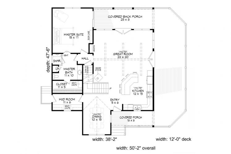 Country House Plan -  74918 - 1st Floor Plan