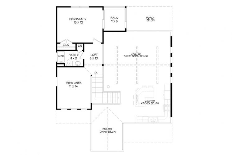 Traditional House Plan -  74918 - 2nd Floor Plan