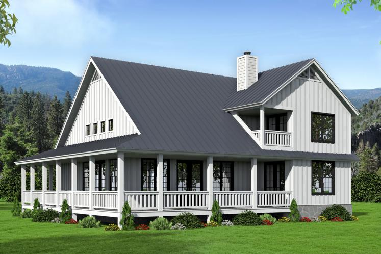 Farmhouse House Plan -  74950 - Rear Exterior