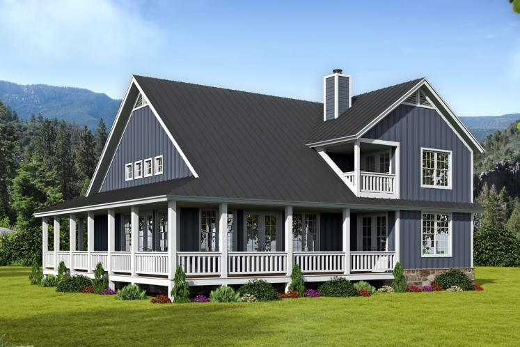 Cottage House Plan -  74950 - Rear Exterior