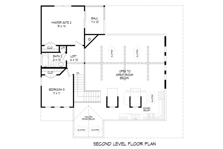 Cottage House Plan -  74950 - 2nd Floor Plan