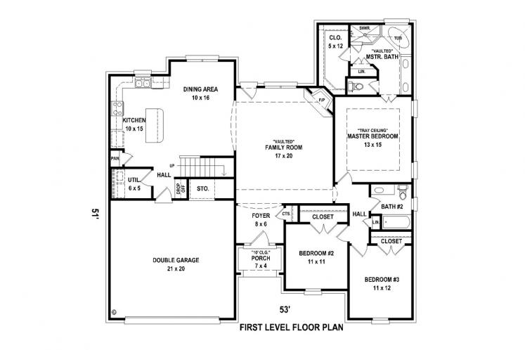 Country House Plan -  75520 - 1st Floor Plan