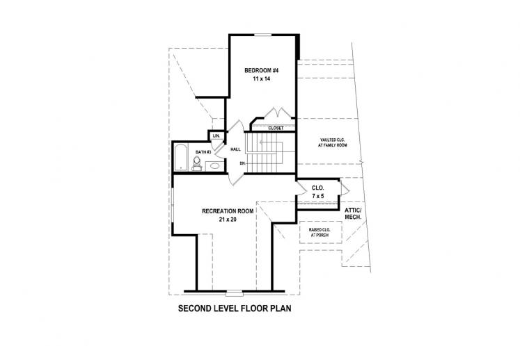 Traditional House Plan -  75520 - 2nd Floor Plan