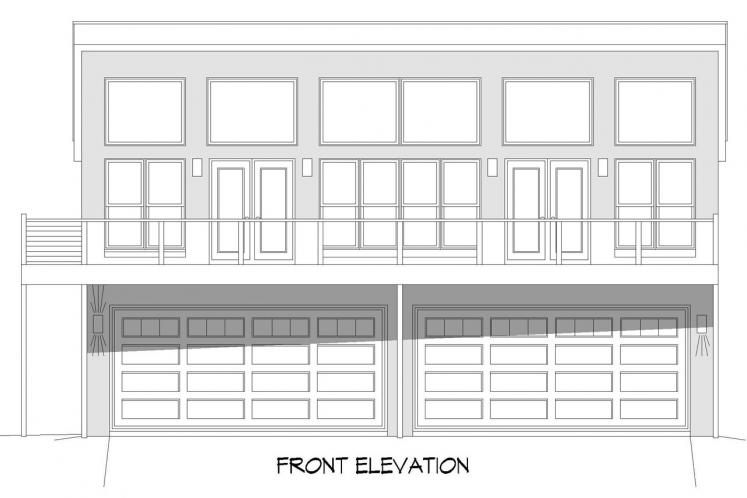 Contemporary Multi-family Plan - Seaside Hills 75831 - Front Exterior