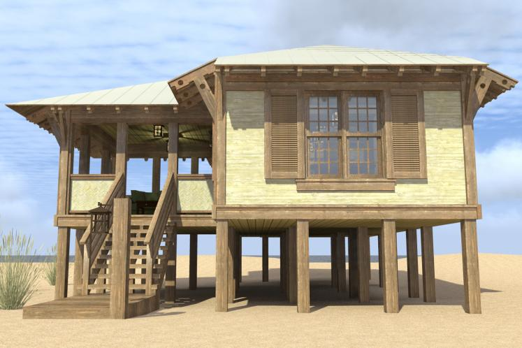 Cottage House Plan - Duck Blind  75985 - Right Exterior