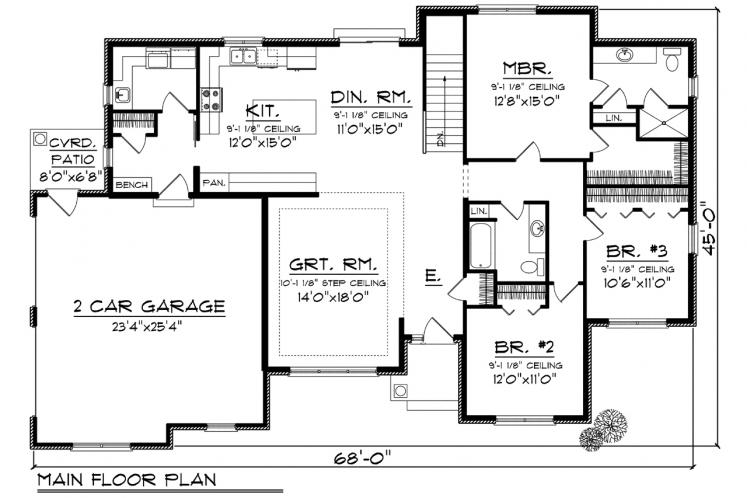 Traditional House Plan -  76020 - 1st Floor Plan