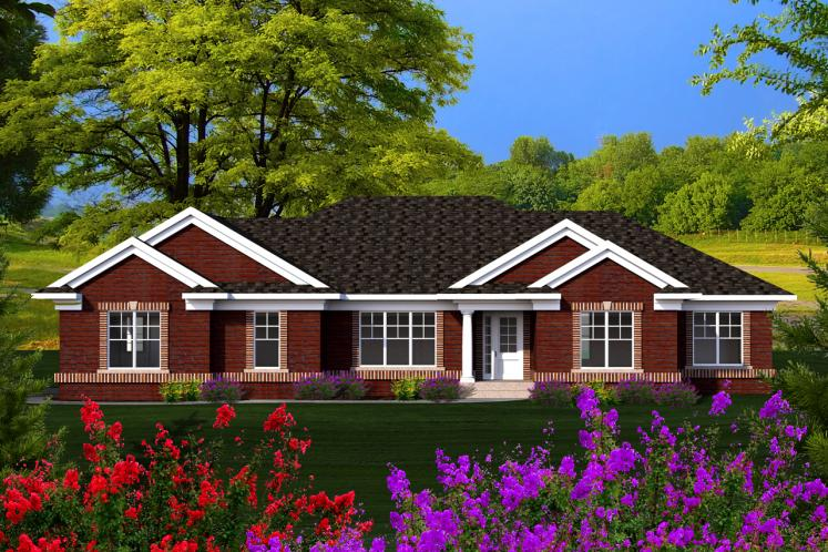 Ranch House Plan -  76020 - Front Exterior