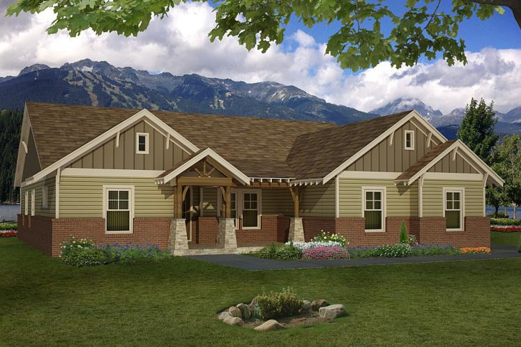 Ranch House Plan -  76031 - Front Exterior