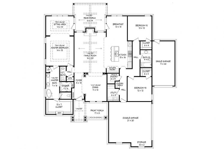 Bungalow House Plan -  76031 - 1st Floor Plan