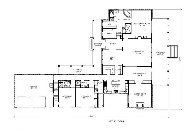 Farmhouse House Plan - Saddlebrook 76035 - 1st Floor Plan