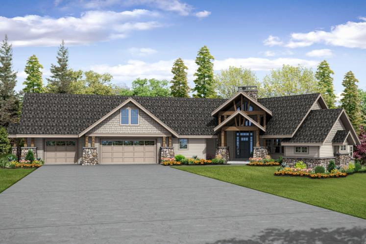 Lodge Style House Plan - Silverton 76066 - Front Exterior
