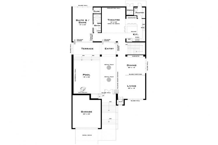Contemporary House Plan - Limestone 76083 - 1st Floor Plan