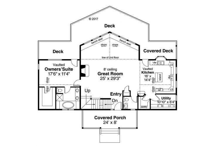 Cottage House Plan - Alpenview 76458 - 1st Floor Plan